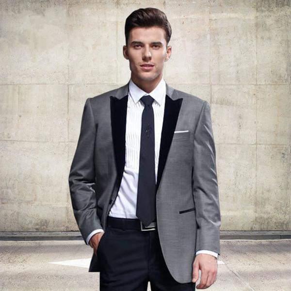 New Custom Classic Grey Mens Suits Groomsmen Tuxedos Notch Lapel Groom Tuxedos Best Man Wedding Suit (Jacket+Pants)
