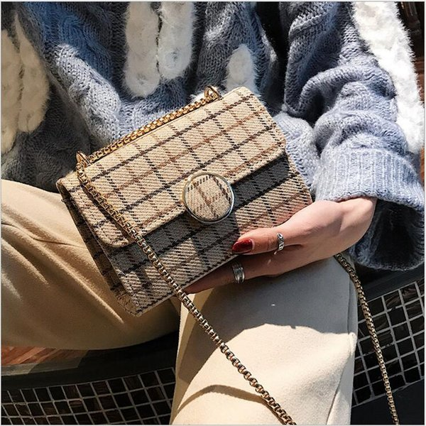 Wholesale women's package 2018 new wool cloth small square bag of Korean version color checked handbag chain single shoulder bag
