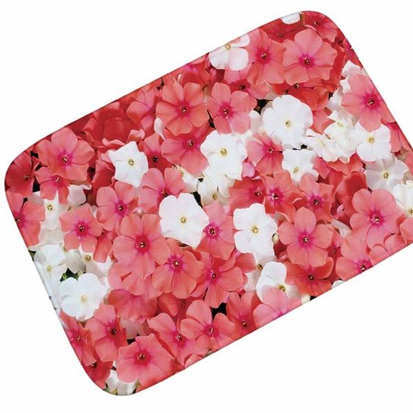 14 Colors Flowers Print Coral Fleece Doormat Area Rug Bathroom Kitchen Non-Slip Small Carpet Door Floor Mat Home Decor Supplies