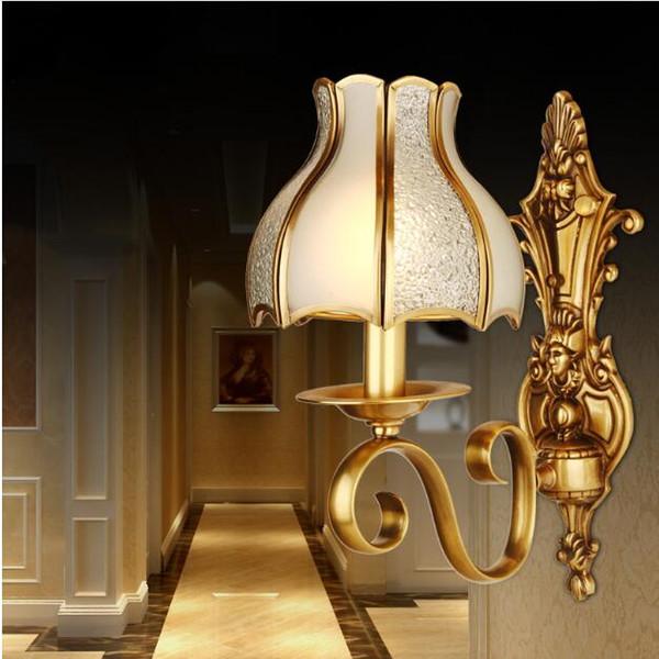 SVITZ Copper European Bedroom Bedside Wall lights Balcony Garden Lamp Corridor Copper Lamp Wall Lamp Wall Sconce