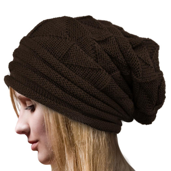 Style European Autumn Winter Fashion Unisex Knit Crochet Solid Warm Baggy Beanie Hat Oversized Slouch Cap