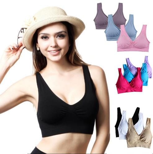 top popular 9 Colors Soft Breathable Sports Bra Women Yoga Fitness Stretch Workout Tank Top Seamless Bra Sports Bras Yoga Bra CCA9359 3000pcs 2019