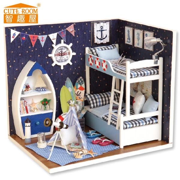 Mini rompecabezas de madera en 3D de alta calidad, casa de muñecas, muebles de bricolaje en miniatura, regalos para niños / vacaciones con muñecas y luces LED