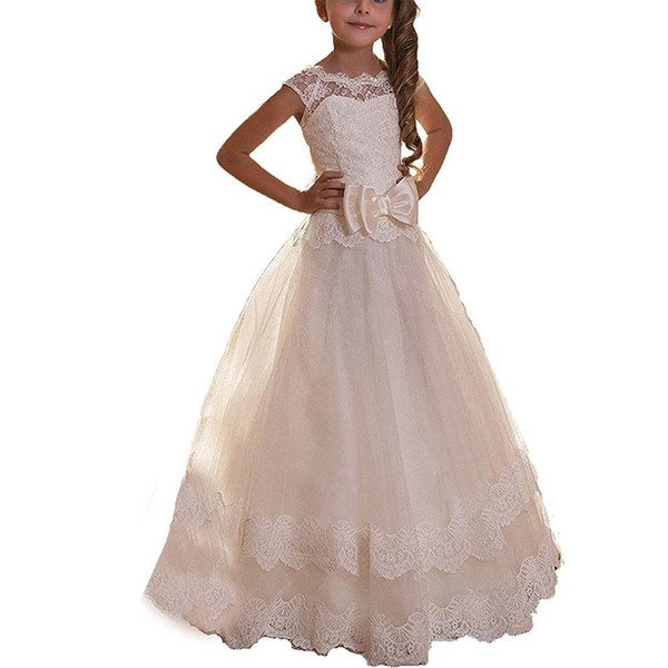 Lovely Lace Bow Sash Scoop White Little Girls Party Pageant Dresses Tulle Tutu A-Line Flower Girls Dresses Chiffon First Communion Dress