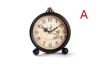 Creative alarm clock, silent character bedside table clock, wrought iron small desk clock fashion students.