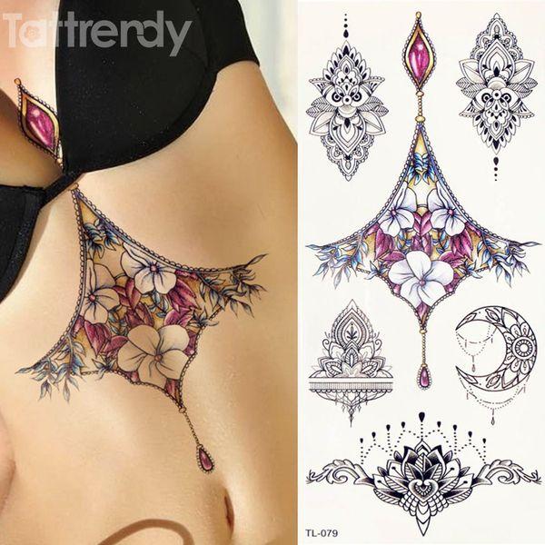 Preço De Tatuagens 1 Folha Mulheres Sternum Jóias Tatuagem Corpo Temporário Na Cintura Cintura Arte Etiqueta Do Tatuagem Legal Sexy Pingente