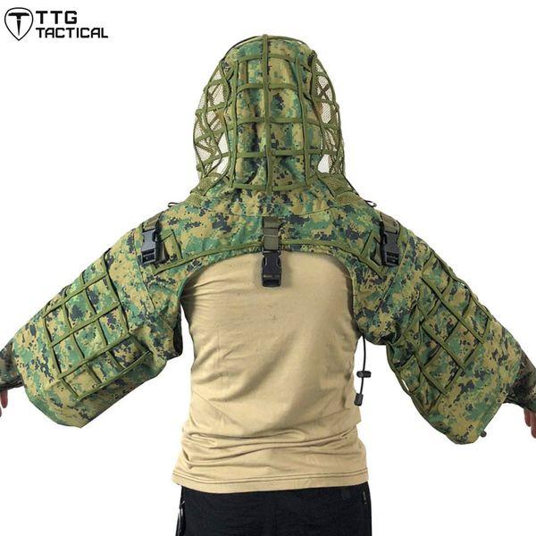 TTGTACTICAL Fondation Sniper Ghillie Suit, Sniper Camouflage RIPSTOP Cagoule Tog Ghillie Woodland / CP / ACU / Océan / Digital Woodland