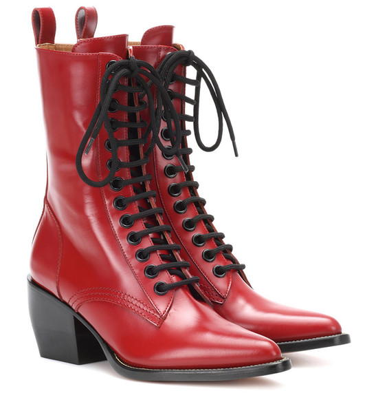 Lace-up Red Short Boots Mid Chunky Heel Side Zip Pointy Shoes Women High Increase Tight Boots For Girls Heels Square Size 10
