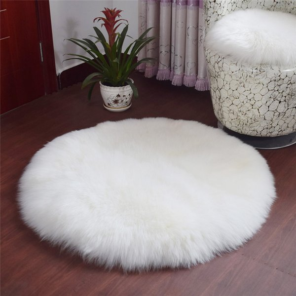 1PC Modern Style Home Round Soft Artificial Sheepskin Rug Mat Chair Cover Artificial Wool Warm Hairy Carpet Seat Pad 30*30CM Blanket