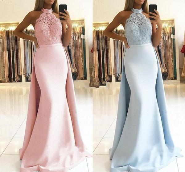 2019 Neckholder Mermaid Ballkleider mit abnehmbarem Zug Bridemaids Kleider nach Maß Spitze Appliques elegante Abendkleider