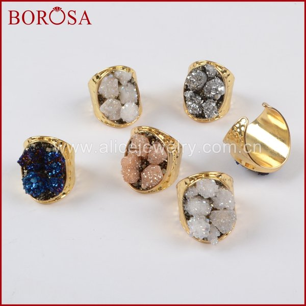 BOROSA Gold Color Rough Titanium Druzy Crystal Chips Rings for Women, Wholesale Fashion Gems Drusy Crystal Ring G1434