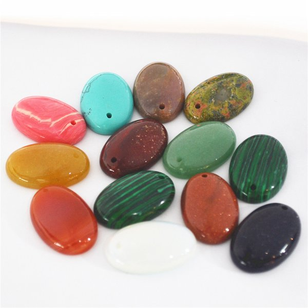 Fashion Jewelry 30x20MM Natural Stone Oval Shape Cab Cabochon With Holes Blue Sand Stone Beads For Jewelry Making DIY Beads 10Pcs