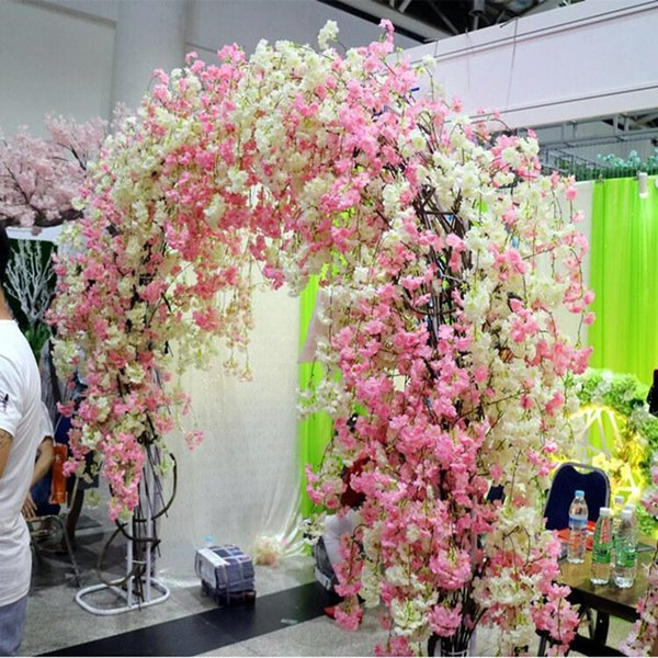 Natural vertical silk cherry blossom for wedding decoration DIY Cherry trees artificial flower bouquet 150CM long Free Shipping