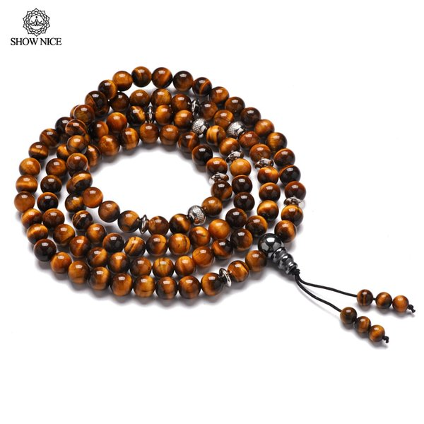 108 Perle naturali Yellow Tiger Eye Mala Collana 8 mm Bead Meditation Reiki Prayer Bracciale Uomo Crystal Healing Chakra Yoga Gift