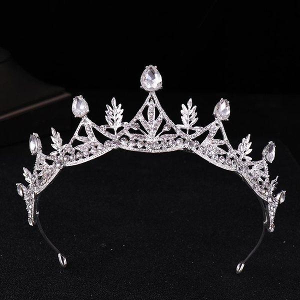 Crystal crown bridal headwear 2018 new alloy crown ornament, delicate foliage.