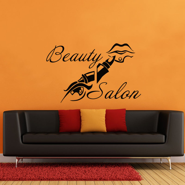 Beauty Salon Wall Sticker Lipstick Design Large Wall Vinyl Decorative Adhesives Wall Decals Display Window Stickers