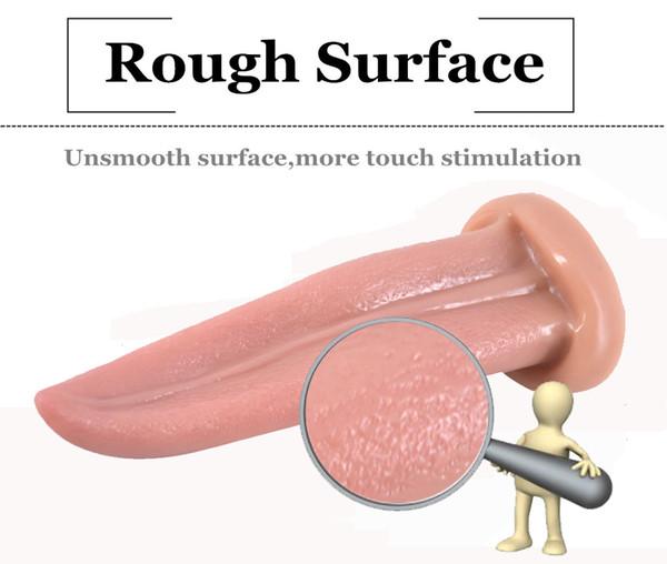 2018 Soft Dildo Artificial Realistic Tongue Vagina Anal Plug Anus G Spot Stimulate Masturbation Product For Women Men Adult Bondage Sex Toy