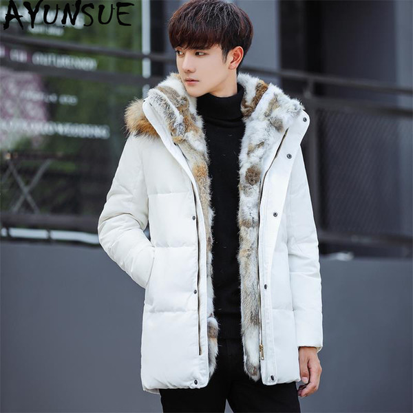 AYUNSUE Doudoune Doudoune Homme KJ577 Manteau Duvet Doudoune Doudoune Homme Fashions Plus La Taille Blanc Coréen Blanc