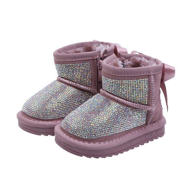New Winter Baby Girl Rhinestone Botas para la nieve Niños Arco Zapatos cálidos Botas de piel para niños pequeños Moda negra Zapatos suaves