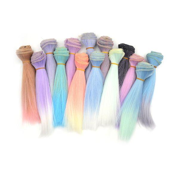 Parrucche per capelli a colori sfumati 15cm capelli lisci per BJD SD Blyth Dolls Chole Parrucche per bambole Accessori per fili ad alta temperatura