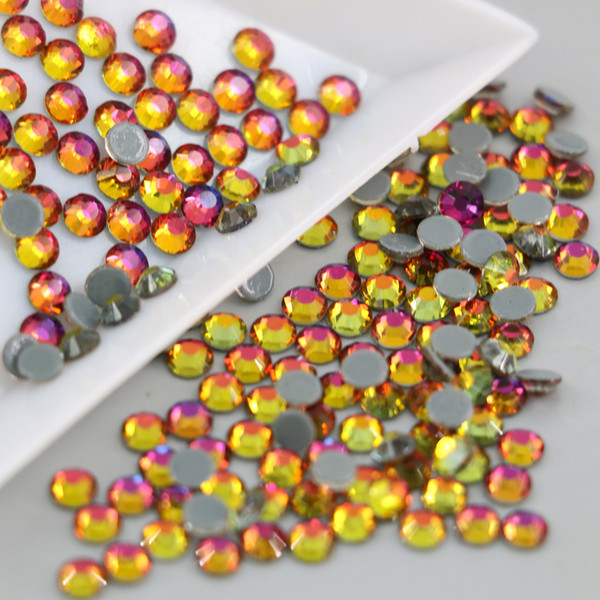 New Gradient color Red flame Hot fix rhinestones for clothes decoration dress Garment appliques Crystals and stones
