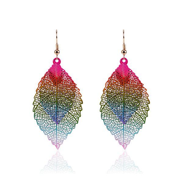 fashion Luxury boho Double color Leaf Dangle earrings Vintage Leaves long tassels drop Earrings for women Jewelry