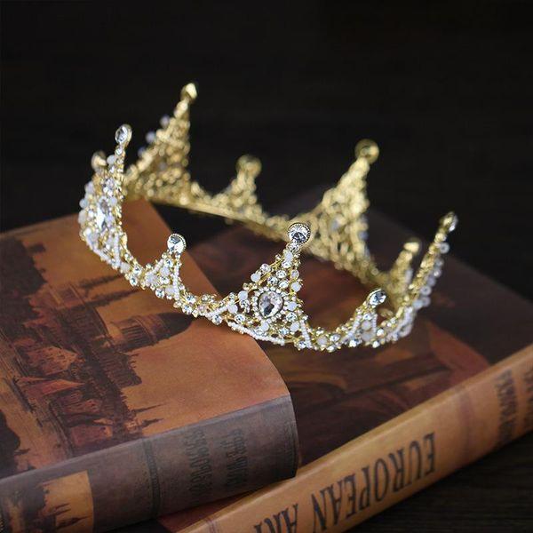 Bridal Headwear Princess Birthday Crown Headwear Gold Water drill Crown High end shape Bride Crown Jewelry