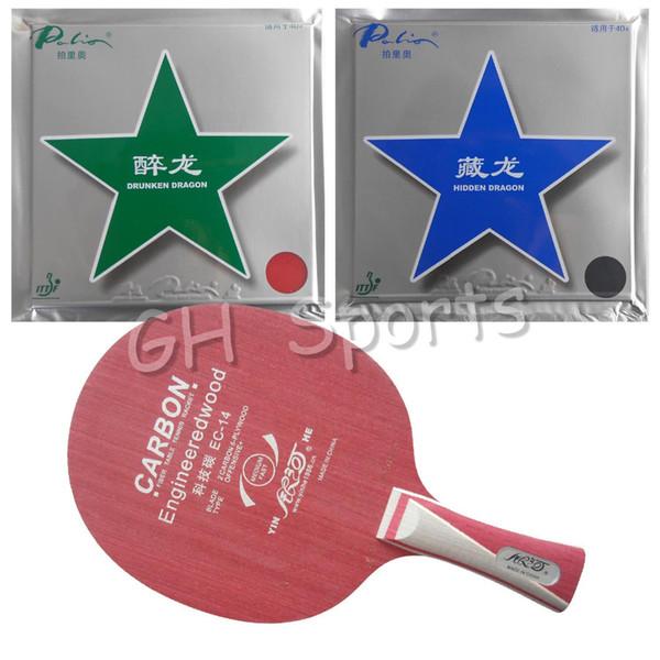 Wholesale- Pro Table Tennis Racket Galaxy YINHE Blade EC-14 with Palio Hidden Dragon 40+ and Drunken Dragon 40+ Rubber Long Shakehand FL