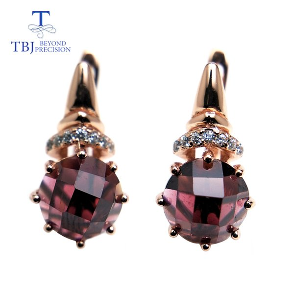 TBJ,natural red garnet round 8.0mm rose cut design earring rose color in 925 sterling silver gemstone jewelry,simple earring