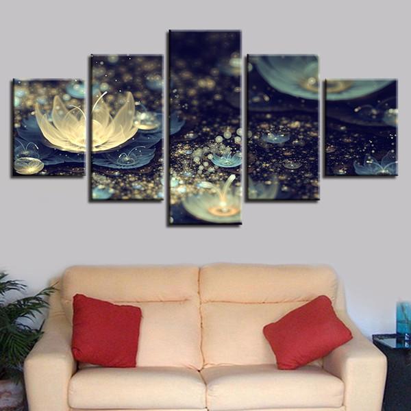 Arte de la pared Marco 5 Piezas Hermosas Flores de Loto Abstractas Noche Río Cartel Decoración para el hogar HD Imprimir imágenes Modular Canvas Painting