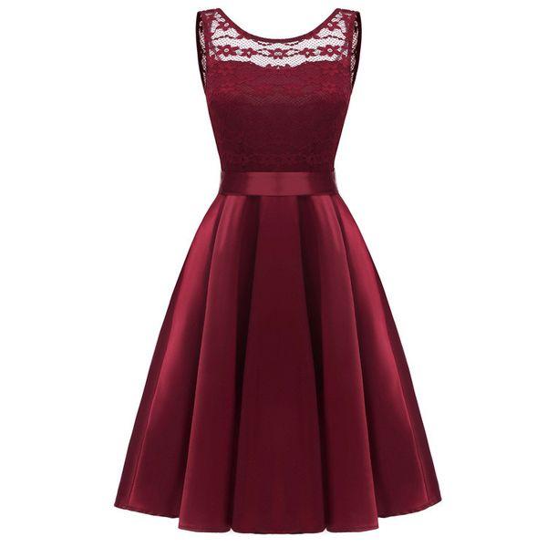 Elegant Burgundy Navy Bridesmaid Dresses Lace Appliqued Wedding Guest Dress Sheer Back Zipper Knee Length Cheap Prom Formal Evening Gowns