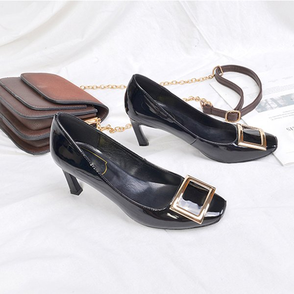 Fall 7.5 cm high shoes with his ship side buckle accessories metal paint edge bead material black wine red beige
