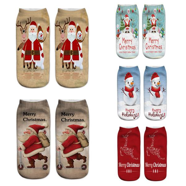 2018 New Women Socks Brand 3D Socks Fashion Funny Christmas Meias Female Cute Low Cut Ankle Sock Calcetines Christmas Gift