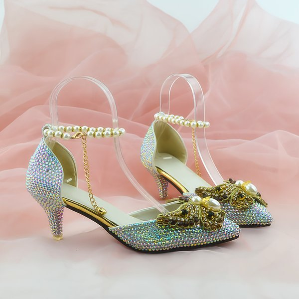 Silver Beaded Shiny high heels lady's shoes Women sandals Bridal Evening Prom Party club Bridesmaid shoes with pearl straps 023