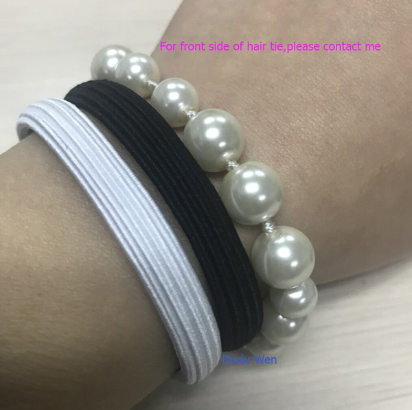 10pcs/lot Classic White and back Color fashion symbol luxury hair ties Luxury hair rope For C bracelets accessories