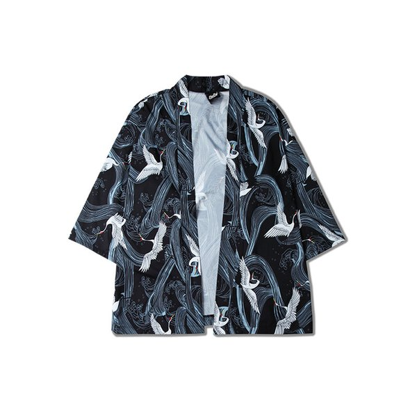 Men Kimono Cardigan Short Sleeve Shirt Coat Male 2018 Summer New Street Fashion Hip Hop Casual Loose Shirt Coat Thin Overcoat