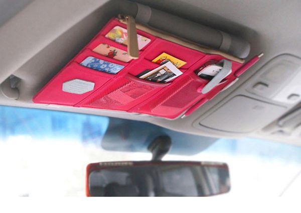 Auto Sun Visor Storage Bag Hanging Credit Card Namecard Organizer Holder Documents Pouch Accessories EGO012