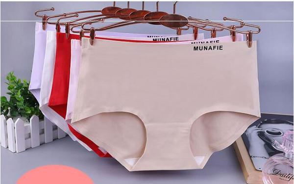 Seamless ice silk solid color underwear ladies new Japanese munafie simple one-piece waist women's briefs sexy