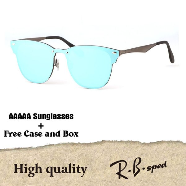 Excellent quality Newest Fashion Traveller Style Rivets Sunglasses Men Women Brand design Mirror Flash Sun Glasses With Box and Cases