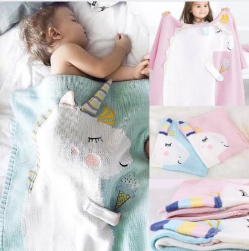 kids Unicorn blanket Knitted Newborn Wrap For Baby Kids Baby Room Decoration Blanket Baby Swaddle Blanket 105*75CM KKA5585