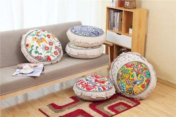 Rimovibile per la casa Decorare rotondo morbido cuscino divano decorativo Lino Vintage stile etnico Cuscini con nucleo interno 50x50 CU0801