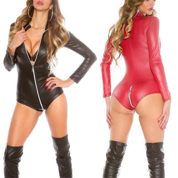 Porn Sex Underwear Sexy Teddy Babydoll Hot PU Leather Latex Baby Doll Erotic Lingerie Pole Dance Club Costumes Zipper Mini Dress D18110701