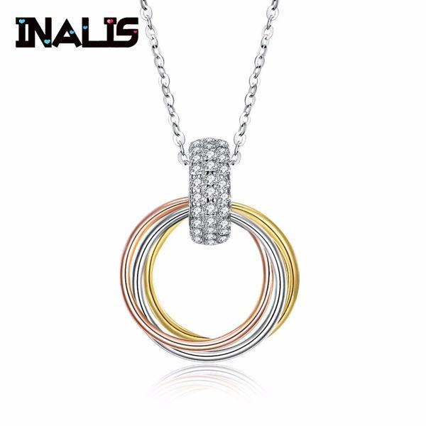 d1ea4b6e1bb INALIS 2018 New Fine Jewelry Link Chaîne avec Jaune Or Rose 925 Argent  Pendentif Rond Argent