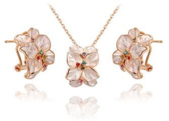 Romantic women fashion jewelry white petals necklace earrings set bride engagement wedding festival gift Christmas birthday