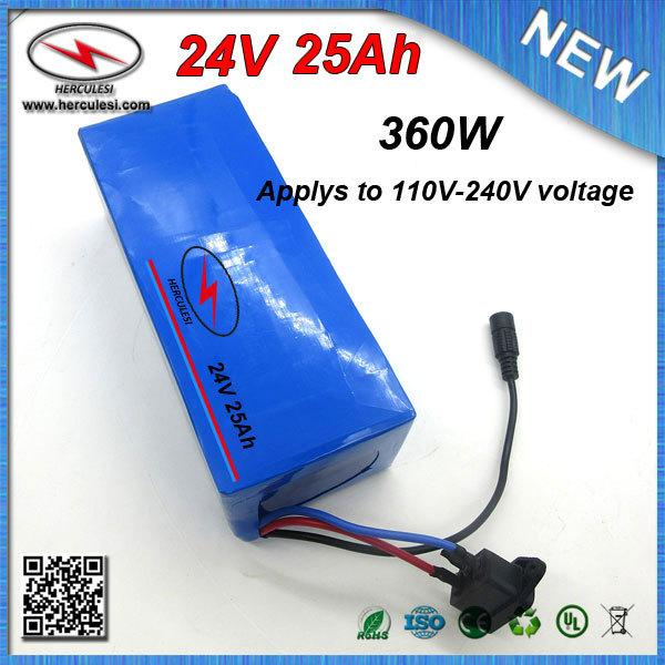 Big Capacity 24V 25Ah Lithium ion Battery pack for 700W Electric Bicycle Bike with PVC Case 18650 cell 15A BMS + 2A Charger
