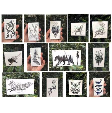 Tatuaggi temporanei impermeabili geometrici animali volpe freccia lupo cervo balena animale tatoo trasferimento dell'acqua tatuaggio flash finto