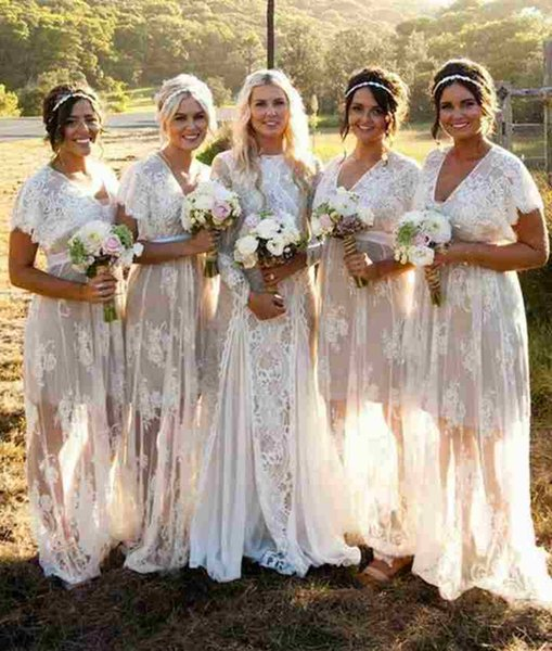 Country Lace Bridesmaid Dresses Long Cheap 2018 White With Short Sleeves Unique Skirt Designer V Neck Prom Wedding Guest Dress Cream Bridesmaid