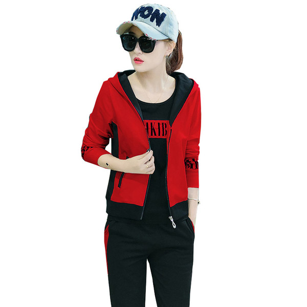 2018 New autumn Korean version of the loose casual suit female Hoodie T-shirt Full Length Pants 3 sets of women's clothing YM934