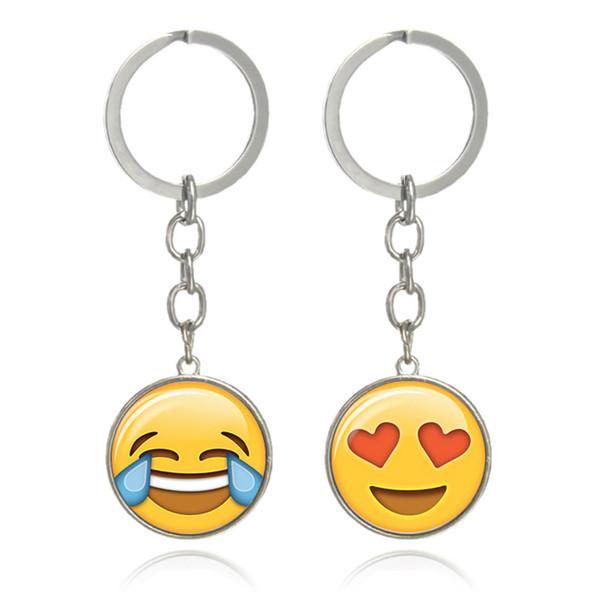 Emoticon Emoticon Donna Uomo Gioielli Gioiello Cabochon in vetro divertente portachiavi con portachiavi