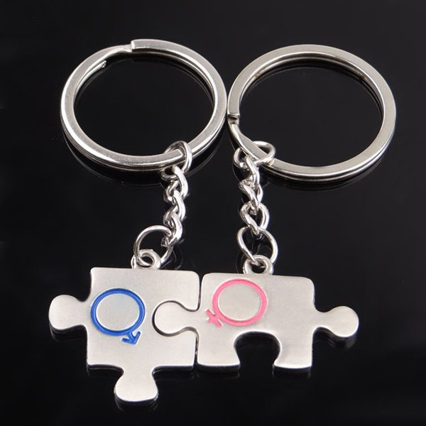 Couple Metal Jigsaw Puzzle Keychain Unique Lovers Bag Pendant Car Key Chain Wedding Party Favor Keyring Card packing DHL Free Shipping